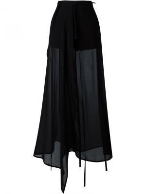 Широкие прозрачные брюки Ann Demeulemeester. Цвет: черный