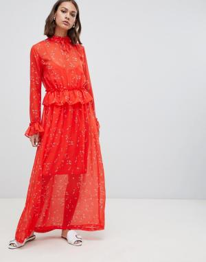 Платье макси с принтом и оборкой на талии -Мульти Minimum