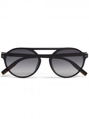 Солнцезащитные очки-авиаторы Leggerissimo Ermenegildo Zegna. Цвет: черный