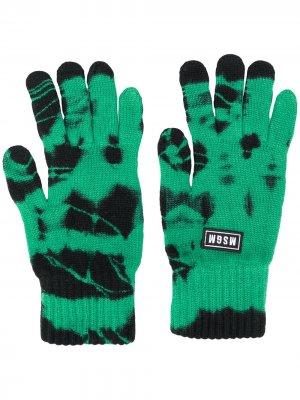 Трикотажные перчатки с узором тай-дай MSGM. Цвет: зеленый
