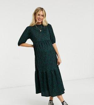 Удобное свободное платье миди со складками и звериным принтом -Зеленый New Look Maternity