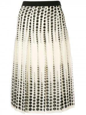 Плиссированная юбка миди Giambattista Valli. Цвет: нейтральные цвета