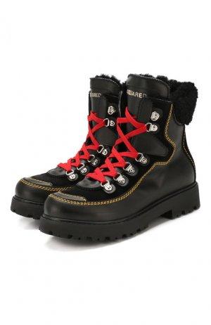 Кожаные ботинки с меховой отделкой Dsquared2. Цвет: черный