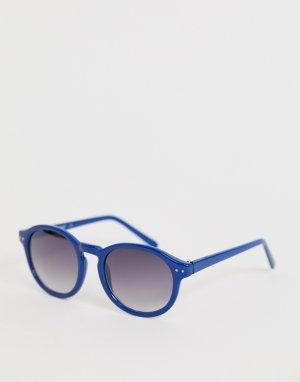 Круглые солнцезащитные очки с синей оправой -Синий AJ Morgan