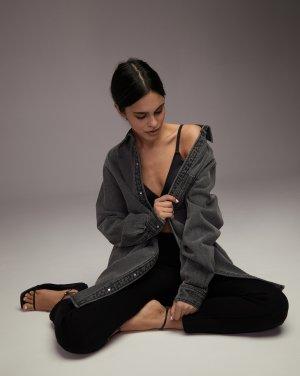 Платье-рубашка джинсовое 12STOREEZ. Цвет: темно-серый