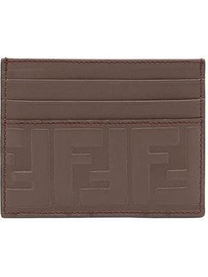 Визитница с тисненым логотипом FF Fendi. Цвет: коричневый