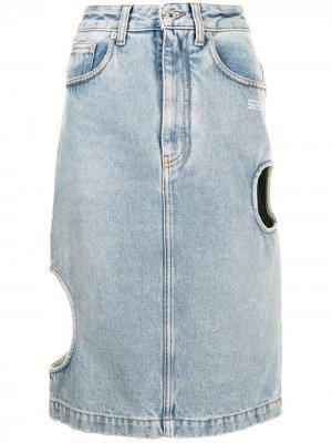 Cut-out denim skirt Off-White. Цвет: синий