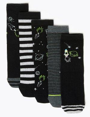 Комплект носков с космическим принтом (5 пар) Marks & Spencer. Цвет: мульти