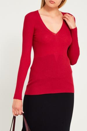 Розовый пуловер в рубчик Gucci