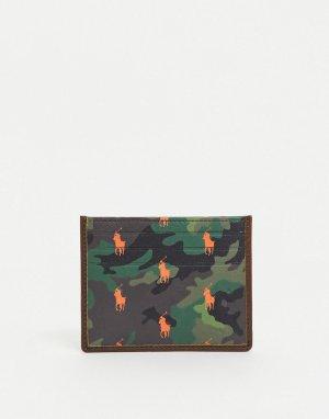 Камуфляжный кожаный кошелек для карт со сплошным принтом логотипа в виде игрока -Многоцветный Polo Ralph Lauren