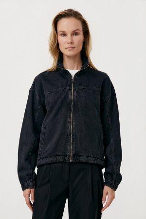 Джинсовая женская куртка свободного кроя Finn-Flare. Цвет: черный