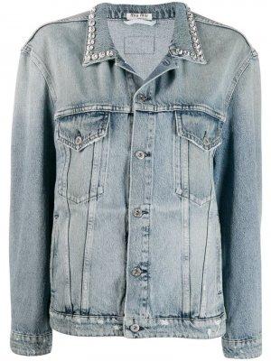 Oversized denim jacket Miu. Цвет: коричневый