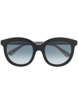 Солнцезащитные очки Lillian в круглой оправе Kate Spade. Цвет: черный