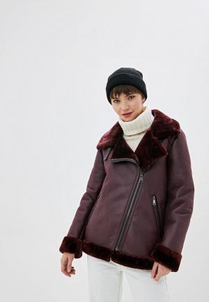 Дубленка DKNY. Цвет: бордовый