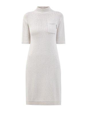 Платье из кашемира и шелка с вплетенными пайетками BRUNELLO CUCINELLI. Цвет: белый