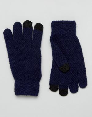 Темно-синие фактурные перчатки для использования с сенсорным экраном 7 7X. Цвет: темно-синий