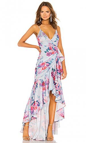 Вечернее платье с запахом ateinne Michael Costello. Цвет: синий