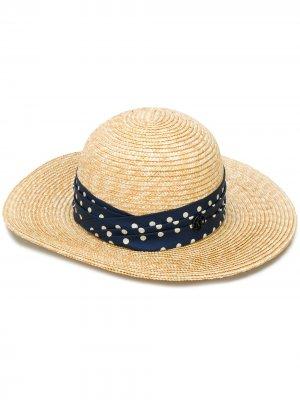 Соломенная шляпа Maison Michel. Цвет: нейтральные цвета