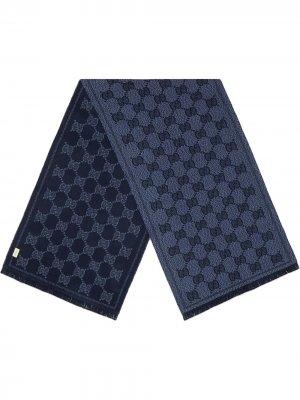 Жаккардовый шарф с узором GG Supreme Gucci. Цвет: синий