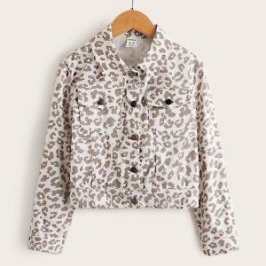 Однобортный пиджак с карманом и леопардовым принтом для девочек SHEIN. Цвет: многоцветный