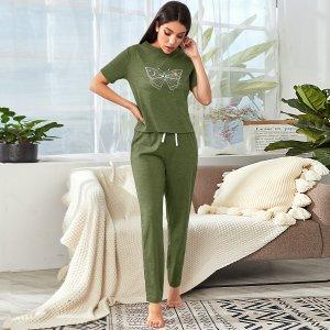Домашний комплект брюки и футболка с принтом бабочки SHEIN. Цвет: армейский зеленый