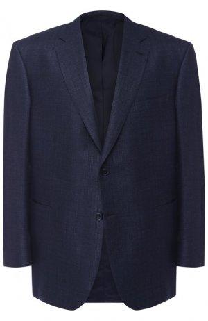 Однобортный пиджак из смеси шерсти и шелка со льном Brioni. Цвет: синий