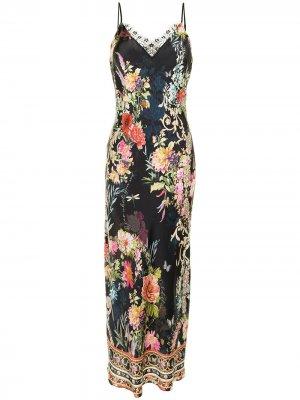Платье-комбинация с цветочным принтом Camilla. Цвет: черный