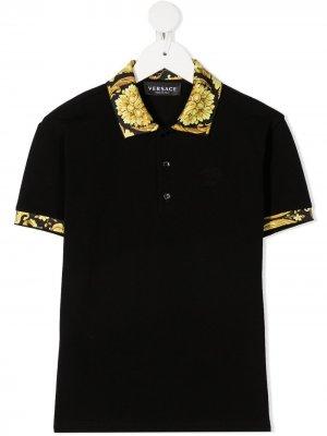 Рубашка поло с узором Barocco Young Versace. Цвет: черный