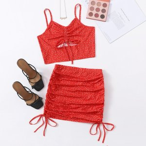 В горошек на кулиске со сборками Майка & Облегающая юбка Набор SHEIN. Цвет: красный