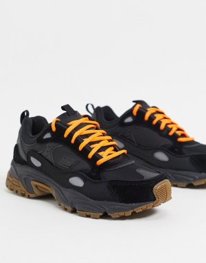Черные кроссовки с оранжевыми шнурками -Черный Skechers