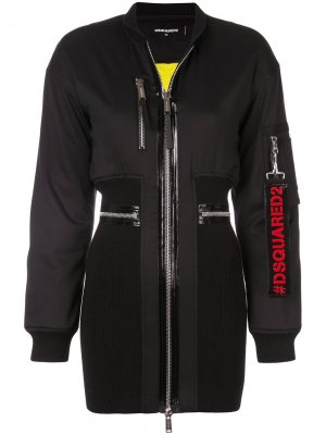 Платье с верхом в стилистике куртки-бомбер Dsquared2. Цвет: черный