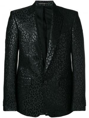 Пиджак-смокинг с леопардовым принтом люрексом Givenchy. Цвет: черный