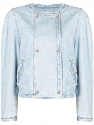 Двубортная джинсовая куртка без воротника Isabel Marant Étoile. Цвет: синий