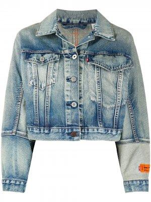 Джинсовая куртка свободного кроя из коллаборации с Levis Heron Preston. Цвет: синий