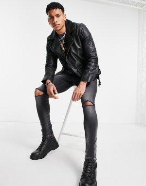 Кожаная байкерская куртка черного цвета -Черный цвет Topman