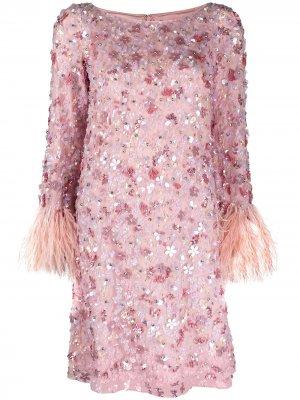 Короткое платье с пайетками Jenny Packham. Цвет: розовый