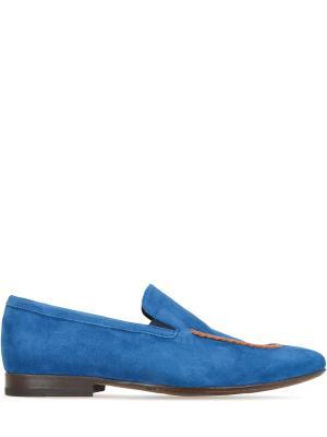 Замшевые лоферы Alberto Guardiani. Цвет: синий