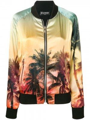Куртка-бомбер с принтом захода солнца Balmain