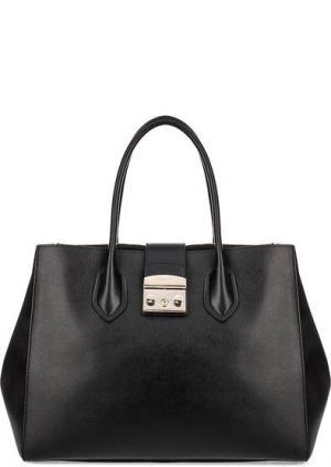 Вместительная сумка из сафьяновой кожи Metropolis Furla. Цвет: черный
