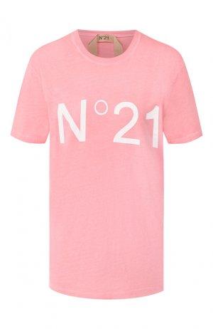 Хлопковая футболка No. 21. Цвет: розовый