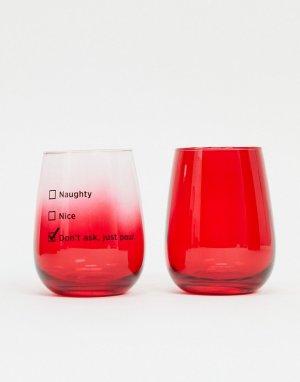 Набор из двух стаканов со слоганом naughty or nice Typo Christmas-Мульти