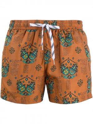 Плавки-шорты с принтом Nos Beachwear. Цвет: коричневый