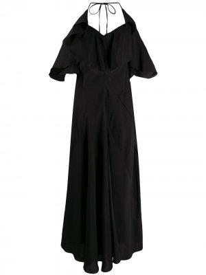 Длинное платье с открытой спиной и оборками LANVIN. Цвет: черный
