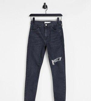 Черные выбеленные джинсы с рваной отделкой на бедре Petite Jamie-Черный цвет Topshop