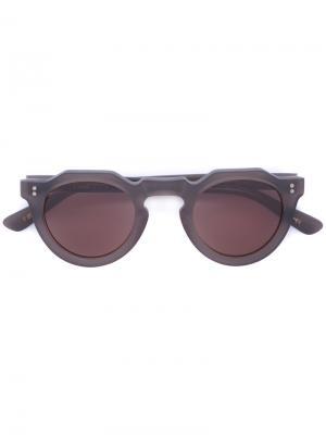 Солнцезащитные очки в геометрической оправе Lesca. Цвет: коричневый