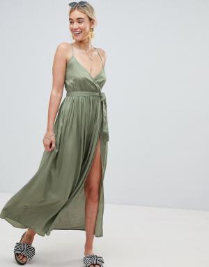Пляжное платье макси с запахом ASOS DESIGN