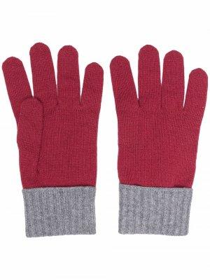 Кашемировые перчатки в двух тонах Eleventy. Цвет: красный