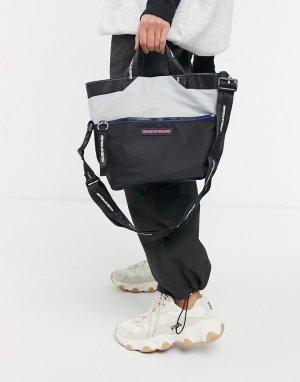 Черная сумка-тоут с длинным ремнем на плечо -Черный цвет House of Holland