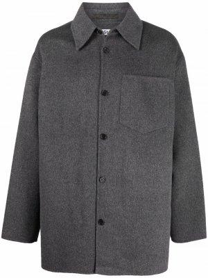 Шерстяная куртка-рубашка на пуговицах Acne Studios. Цвет: серый