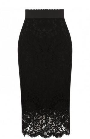 Кружевная юбка-миди с широким поясом Dolce & Gabbana. Цвет: черный